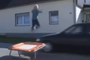 Video: Trampoline jumping over cars ends in tears
