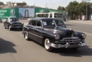Retro Russian cars parade on streets in Tajikistan