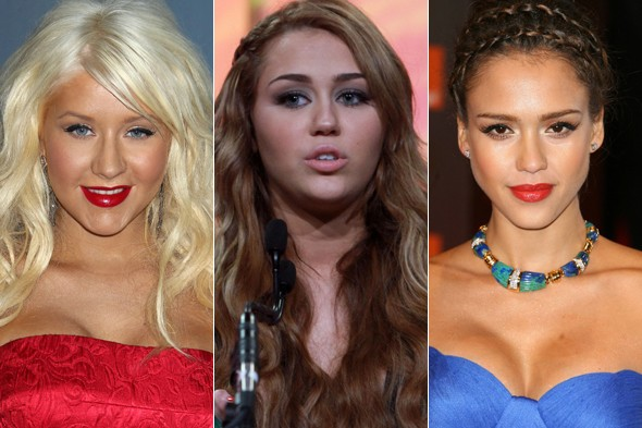 Christina Aguilera, Miley Cyrus and Jessica Alba