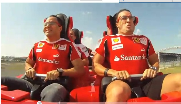 Roller Coaster, Ferrari, Alonso, Massa, Video, Aschterbahn, Abu Dhabi, Themenpark, Video, Streß, Achterbahnfahrt