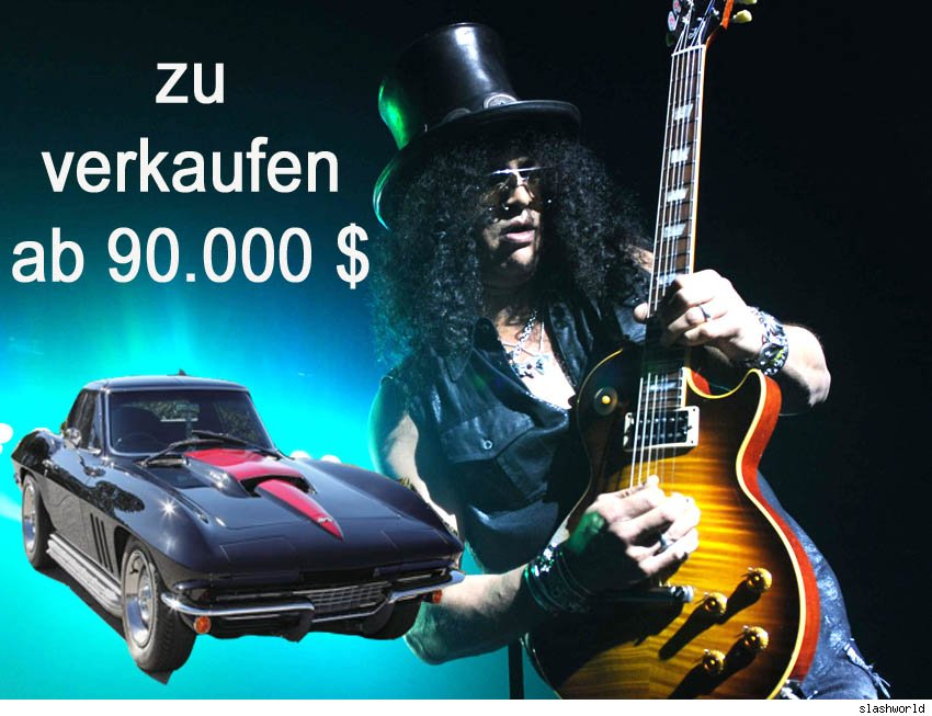 Slash, Gibson, Marshall, Endorser, Auktion, Versteigerung, Stingray, Chevrolett Corvette, 427, Julien's Auctions, guitarplayer, Axel Rose, Guns 'n Roses, Vip, promi, Gibson, Les Paul, Prominent, auto, cars, stars, celebrity 