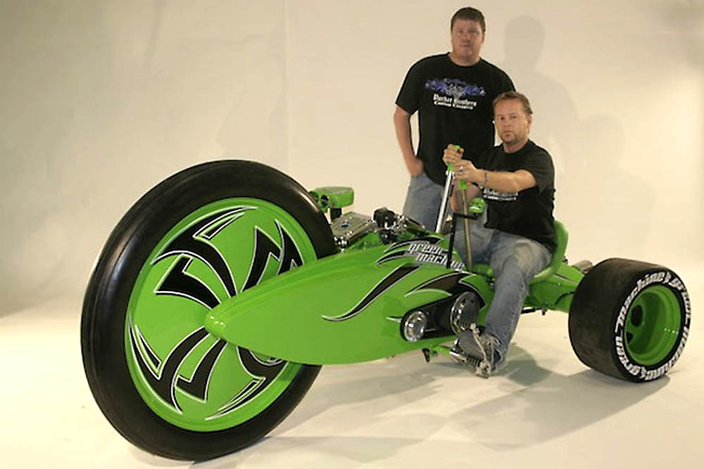 Trike, Harley davidson, Tricycle, V-Twin, Motorrad, funny, komisch, bike, crazy, green machine