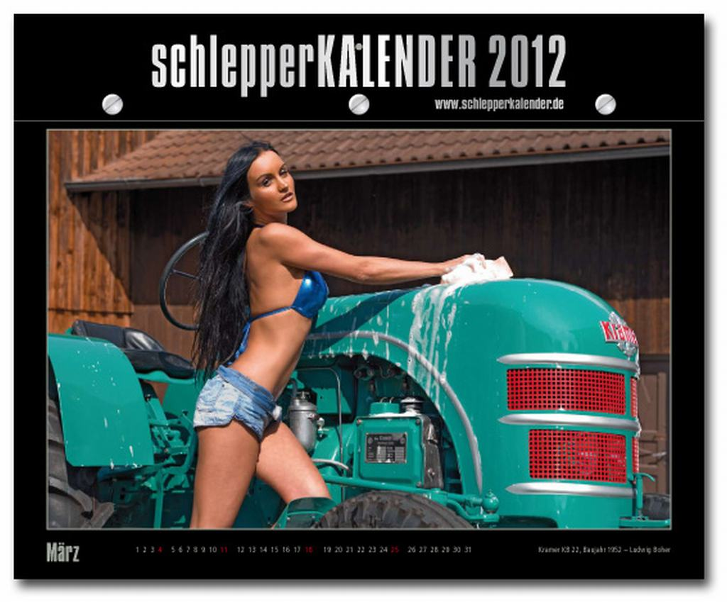 Schlepperkalender 2012, sexy Girls, Trecker, Traktor, Landmaschinen, Bauer, Buerin, erotik, erotisch, sexy, Vivian Dubois, nackt, Penthouse, Playboy