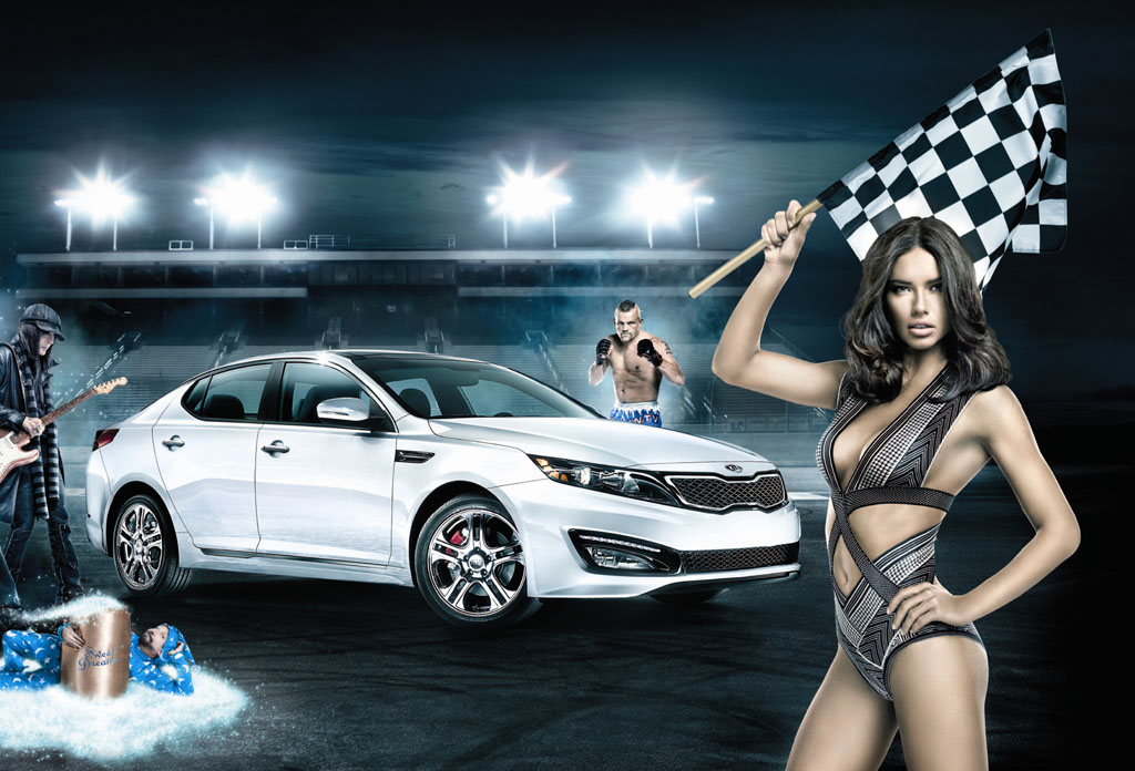 Drive the Dream, Adriana Lima, Kia, 2012, super bowl, Optima Limited, TV ad, super blowl ad, commercial, autowerbung, motley crue, Kickstart my heart,    Chuck Liddell,  Judd Leffew,  super Bowl 2012