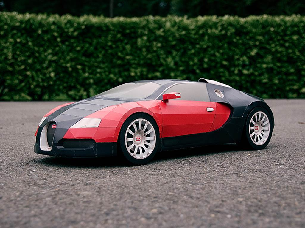 Bugatti, Veyron, Bastelanleitung, basteln, Papier, vorlage, video, kleben, klebstoff, Bugatti Veyron, Miniatur, Nachbau, Modell, Modellbau,  Video