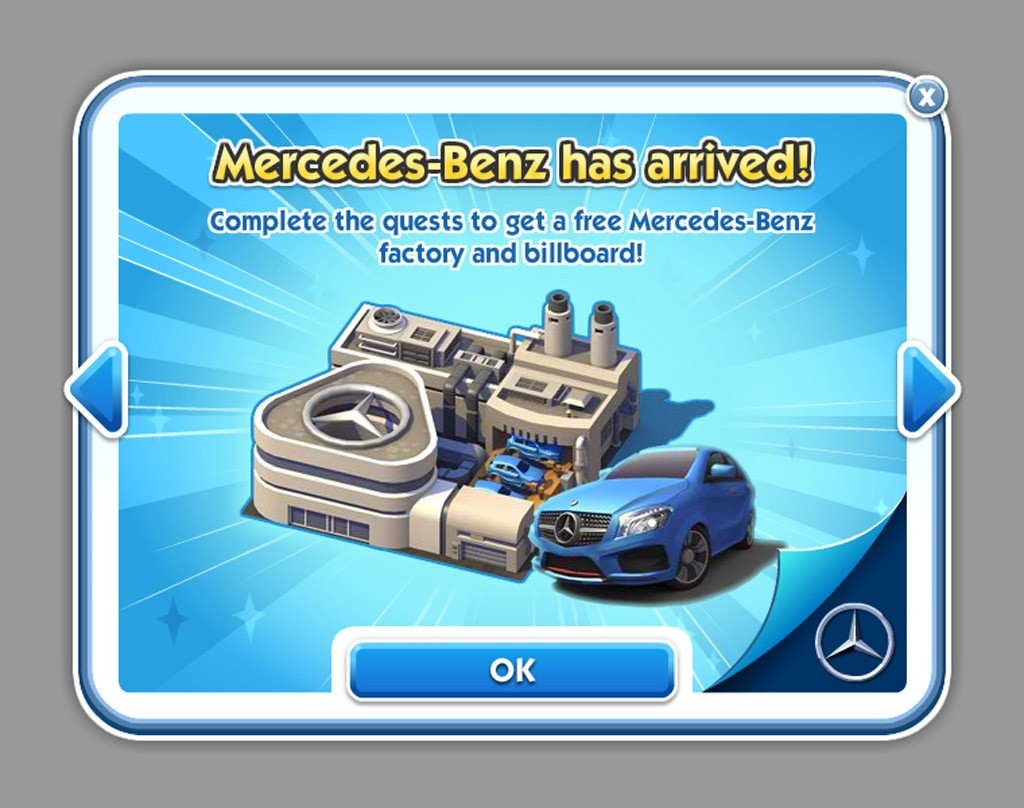 Sim City, Mercedes-Benz, A-Klasse, neue A-Klasse, Sim City social, facebook, Playfish, maxis, EA, Electronic arts