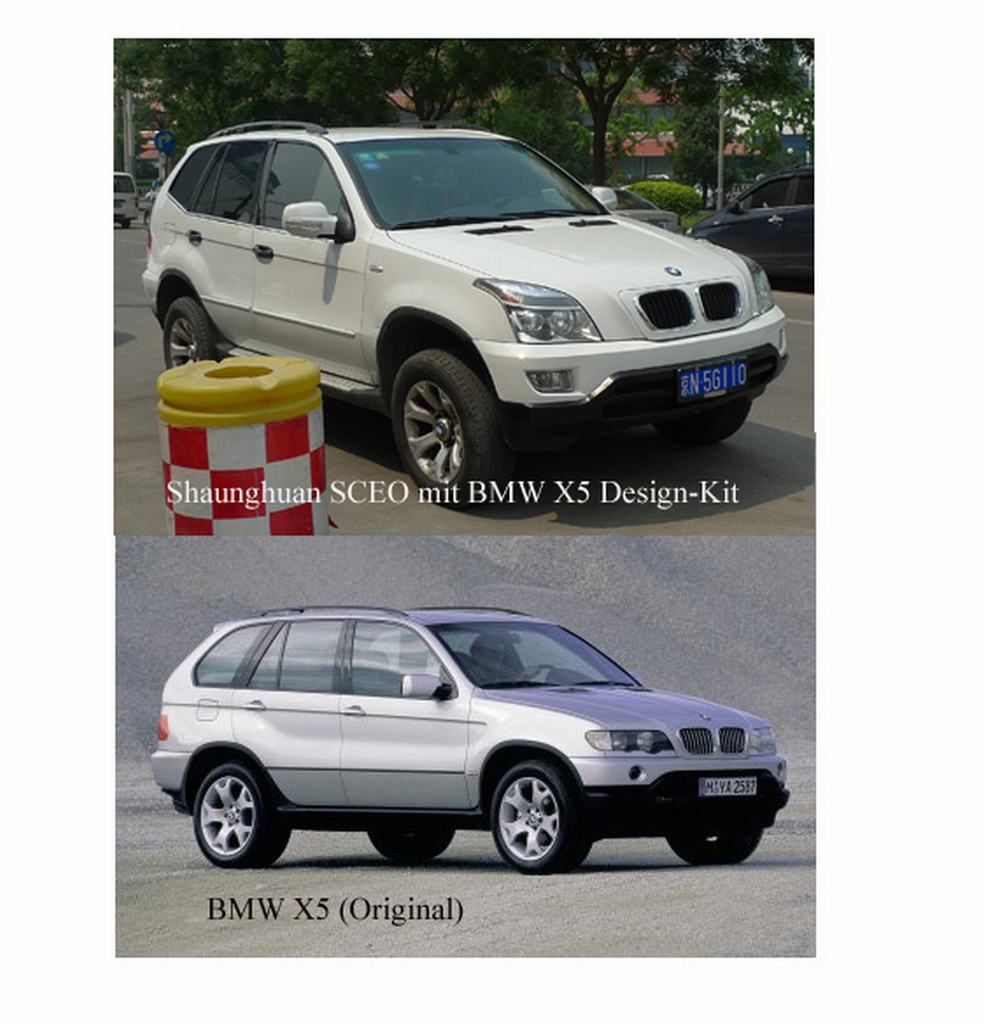 BMW X5, China, original, flschung, SCEO,  Kopie, nachbau, China Copy Shop, chinesischer Autohersteller, Shaunghuan, CEO, Shaunghuan CEO