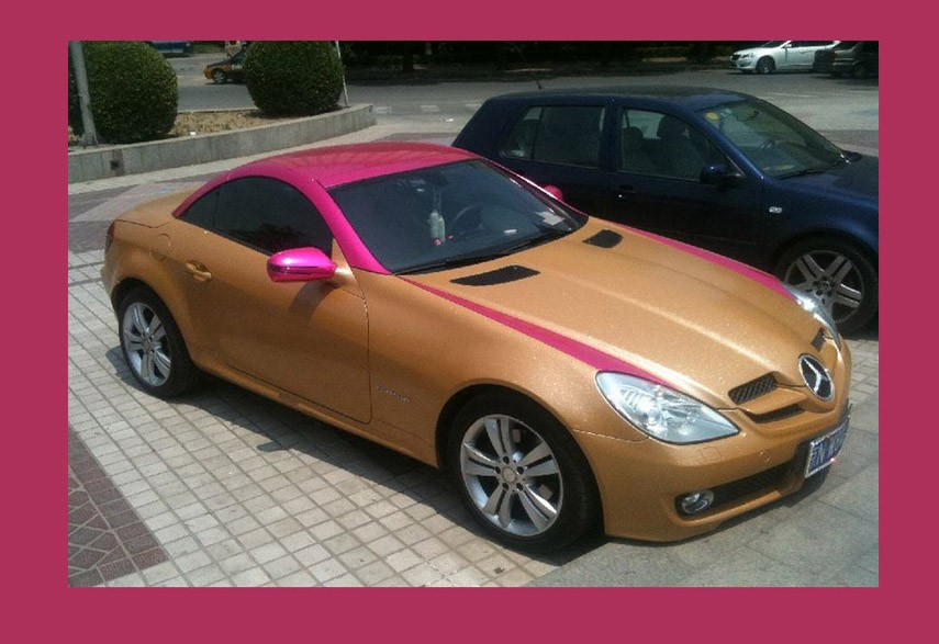 Tuning, hsslich, misslungen, gut, schlecht, SLK, Mercedes-Benz, gold, golden, Bicolor, rosa, pink, Lack, Two-Tone, Bi-Color, Effektlackierung