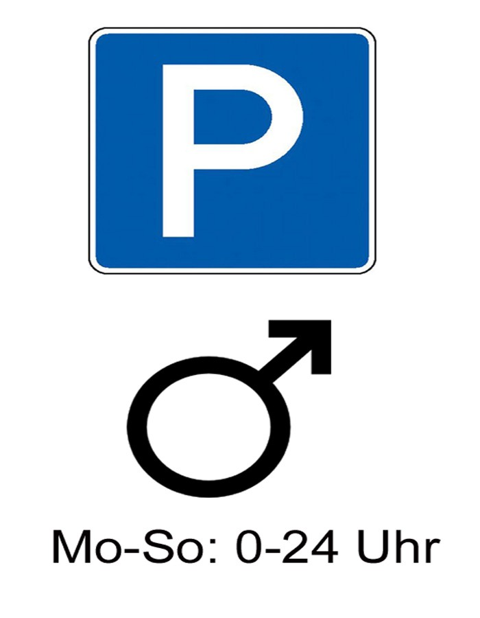 Mnnerparkplatz, Frauparkplatz, Mnnerparkpltze, Frauenparkpltze, Parkverbot, Frauen, Mnner, Triberg, Humor, witzig, frauenfeindlich, Klischee