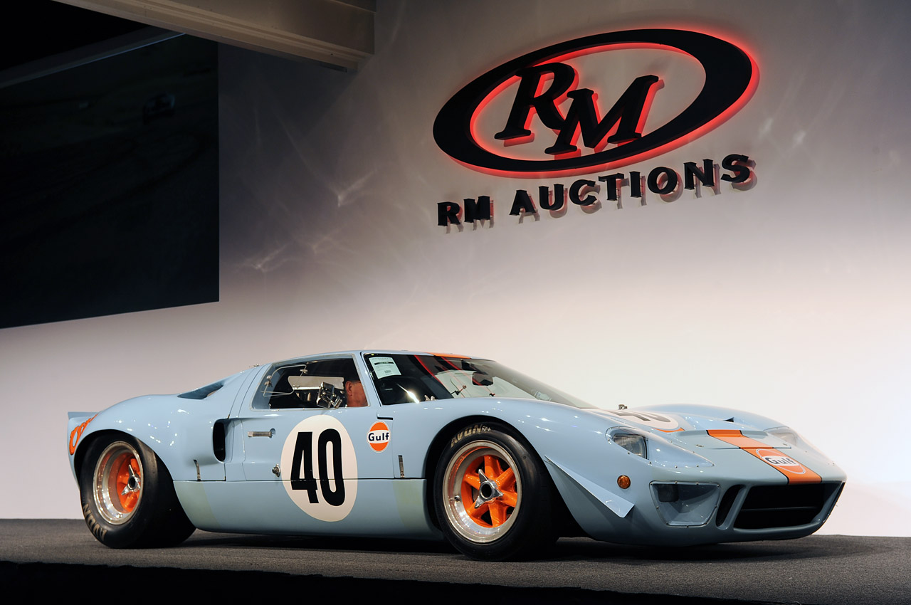 Ford GT 40, Gulf, auction record, gt40, gt40 auction, gt40 auction record, le mans, le mans movie, monterey, monterey 2012, record-setting gt40, rm auctions, steve mcqueen, RM auctions, Versteigerung