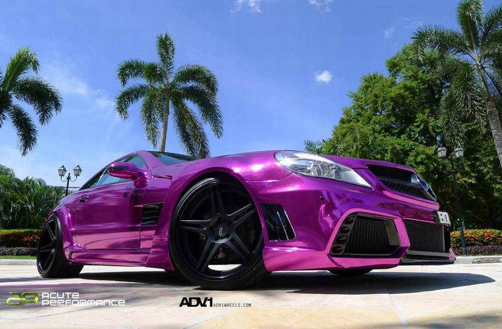Mercedes-Benz, SL, SL 65 AMG, Black Series, Tuner, Tuning, Folie, Folia, chrom, chrome, lila, purple, 