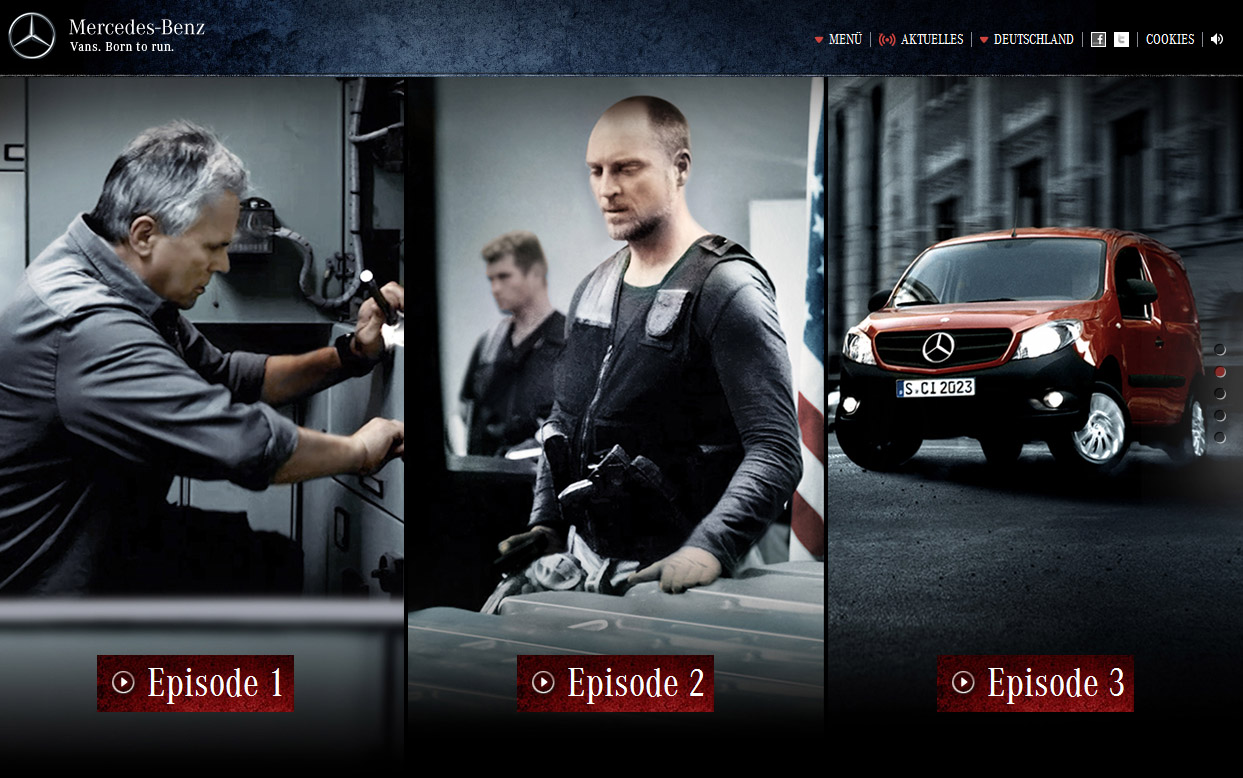 Branded Entertainment, Mac Gyver, Mercedes-Benz Citan, action, movie, webisode, action, mercedes-Benz, werbung, promo, action