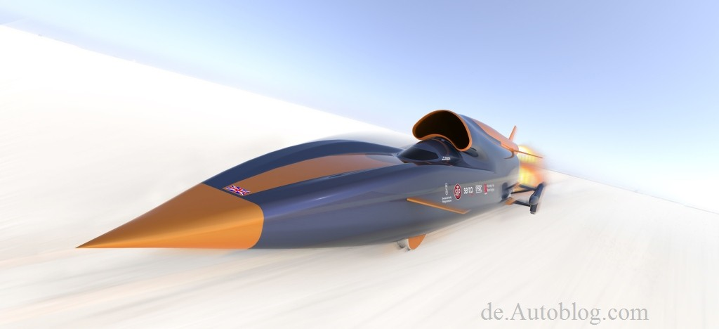 1000 Meilen pro Stunde, 1000 mph, 1000-mph-car, 1228-kmh, 135000-PS-Auto, 1600 kmh-Auto, Andy Green, Überschallauto, Bloodhound Supersonic Car, breaking, Düsentriebwerk, England, Eurofighter, Farnborough Luftfahrtshow, Farnborough-Airshow, Hakskeen Pan, Mark Chapman, Raketentriebwerk, Südafrika, Thrust Supersonic Car, 1000 mph, Green, Test, Guinness Rekord, Guinness record, Weltrekord, Weltrekord für Landfahrzeuge, das schnellste Auto der Welt