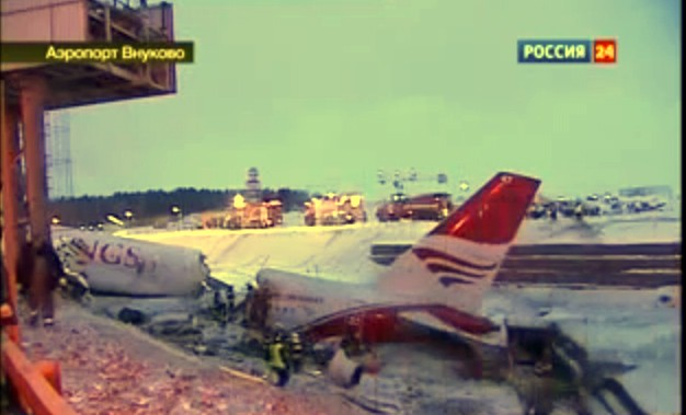 Flugzeugabsturz, Tupolew, Tupolev, crash, airplan, passenger plane,  Moscow, Moskau, tote, verletzte, dashcam, video, film