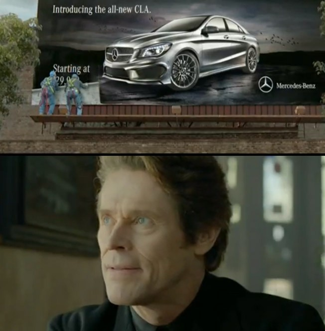 Mercedes-Benz, Super Bowl, Game Day, Willem Dafoe, Mercedes CLA, TV Spot, 2013, CLA