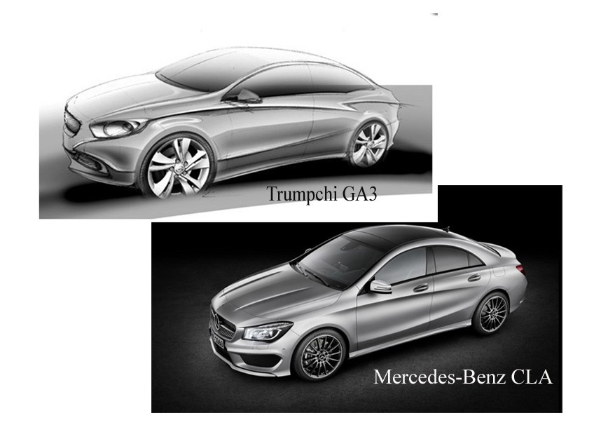 breaking, CLA, copy, design, Shanghai auto show,  E-Jet, GAC, imitation, Kopie, kopieren, Mercedes-Benz, Nachbau, plagiat, styling, vorbild, Trumpchi GA3, Mercedes CLA, China Copy,  GAC, Guangzhou Auto, Mercedes CLA copy Mercedes CLA Kopie 