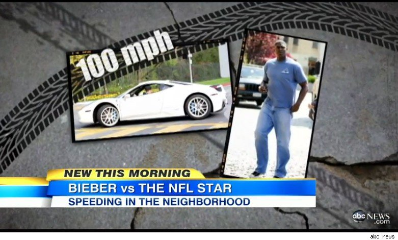 Justin Bieber, Ferrari, Keyshawn Johnson, Footballstar, speed, nachbarschaft, Football player, video, tv, ärger, streit