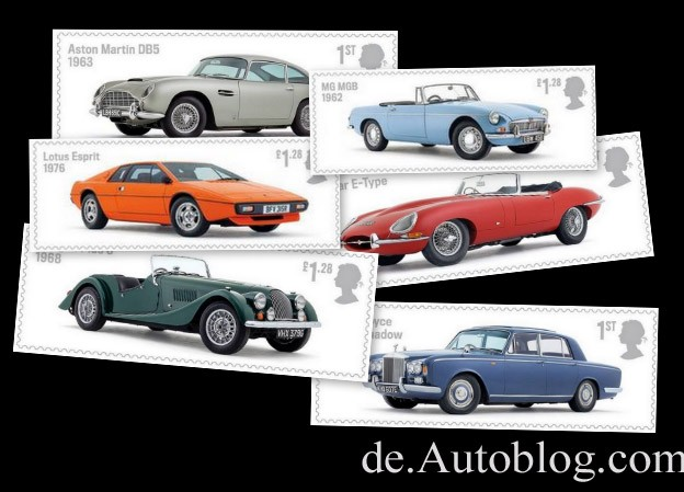 Stamps, Briefmarken, Royal Mail, auto legends, Auto Klassiker Post, Jaguar, aston Martin, Rolls Royce