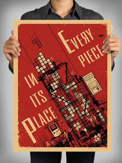 Tetris-Propagandaposter: Every Piece In Its Place!
