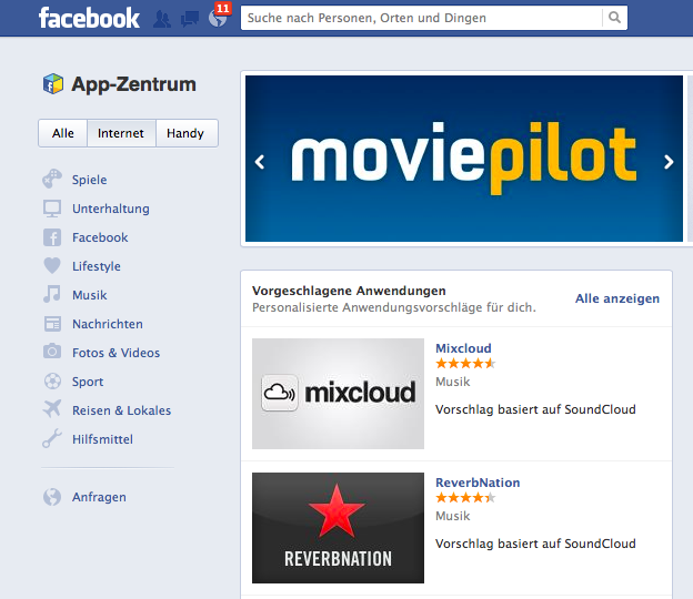 Facebook startet App Center in Deutschland