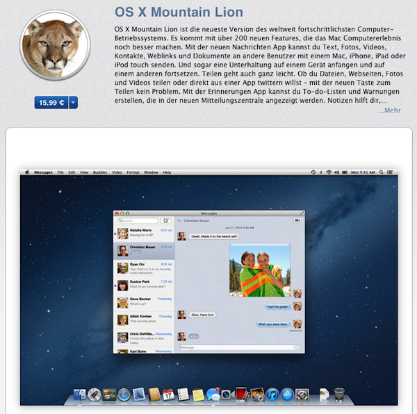 OS X Mountain Lion: 3 Millionen Downloads in vier Tagen, Facebook-Integration auf dem Weg