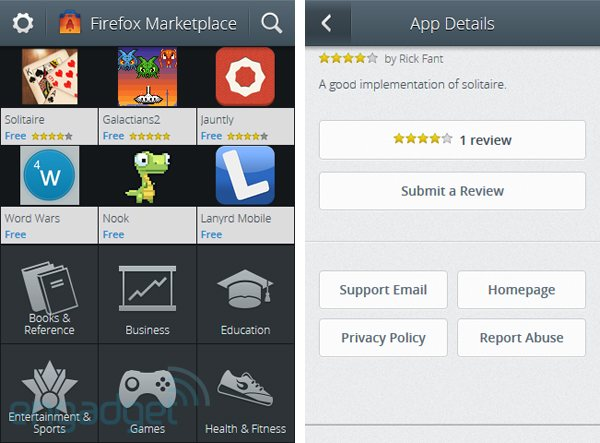 Firefox OS: Mobiler Marketplace taucht auf