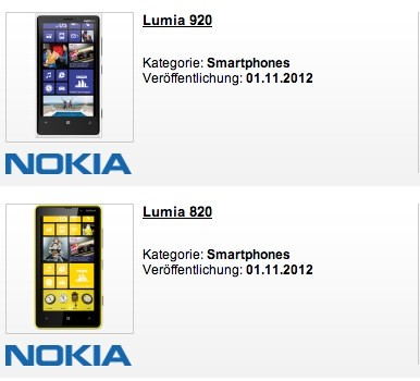 Nokia Lumia 920 und 820 ab 1. November in den Läden
