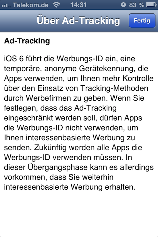 iOS 6 Do Not Track: Wie man das Werbetracking bei iOS 6 abstellt
