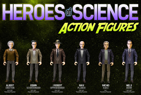 Science Hero Action Figures: Schrödinger, Einstein. Bohr & Co. als Plastikfiguren gedacht