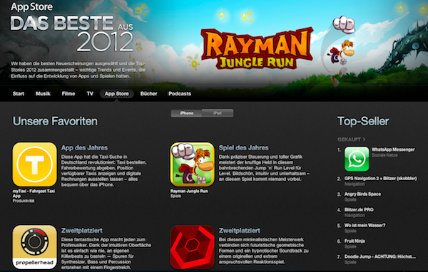 Best of App Store 2012: Apple präsentiert Bestenliste