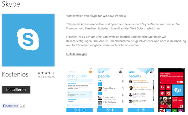 Skype für Windows Phone 8 bekommt HD-Video, People Hub