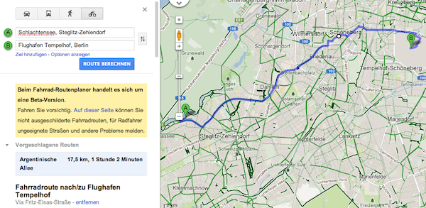 google maps jetzt mit routenplanung f rs fahrrad. Black Bedroom Furniture Sets. Home Design Ideas