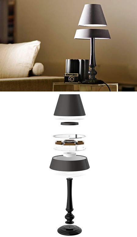 wohnzimmerzauber tischlampe mit schwebendem schirm engadget deutschland. Black Bedroom Furniture Sets. Home Design Ideas