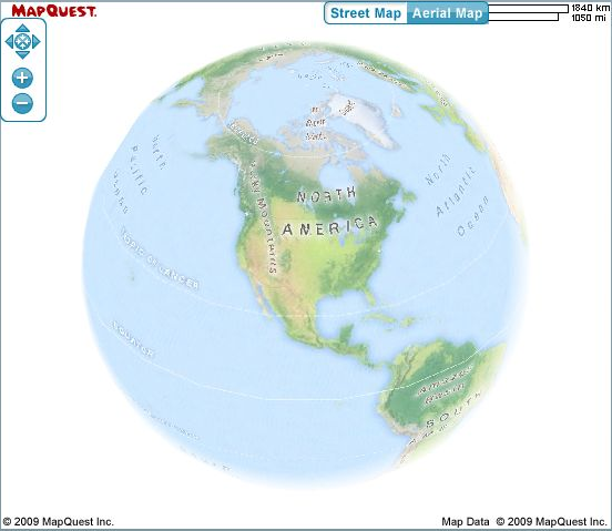 The new map style with Globe View turned on in the AS3 map toolkit