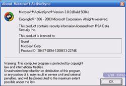 ActiveSync 3.8 about box
