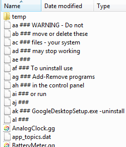 Google Desktop warning