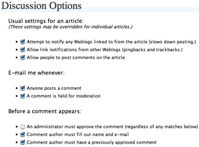 discussion options wordpress screenshot