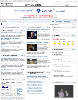 My Times start page launches on NYTimes.com