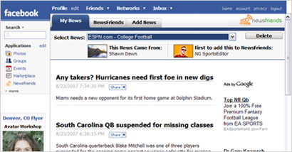 NewsGator launches new Facebook app, NewsFriends