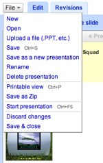 Presentation File Menu