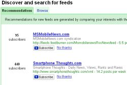 Google Reader Recomendations