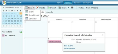 Windows Live Calendar