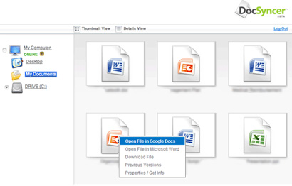 Sync Micorosoft Office documents with Google Docs using DocSyncer