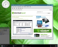 KDE 4 screen shot with plasma widget and open windows