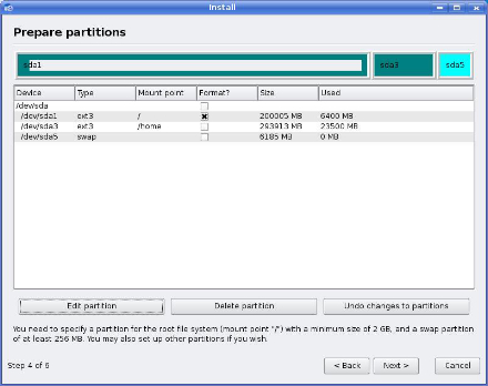 System Partitioner Kubuntu Linux with example partitions