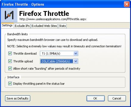 Firefox Throttle