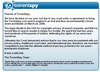 TorrentSpy shuts down