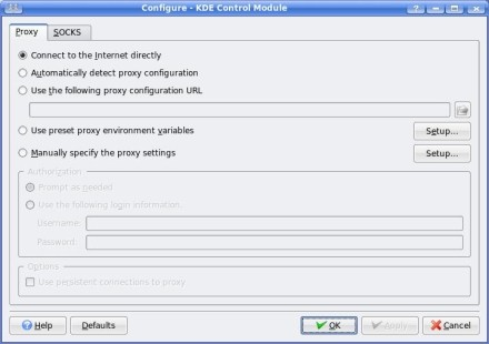 KDE Control Setting up a Proxy