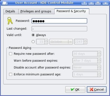Password Dialog for new user