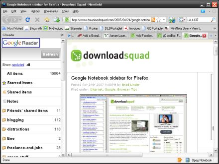 Google Reader in the Firefox sidebar